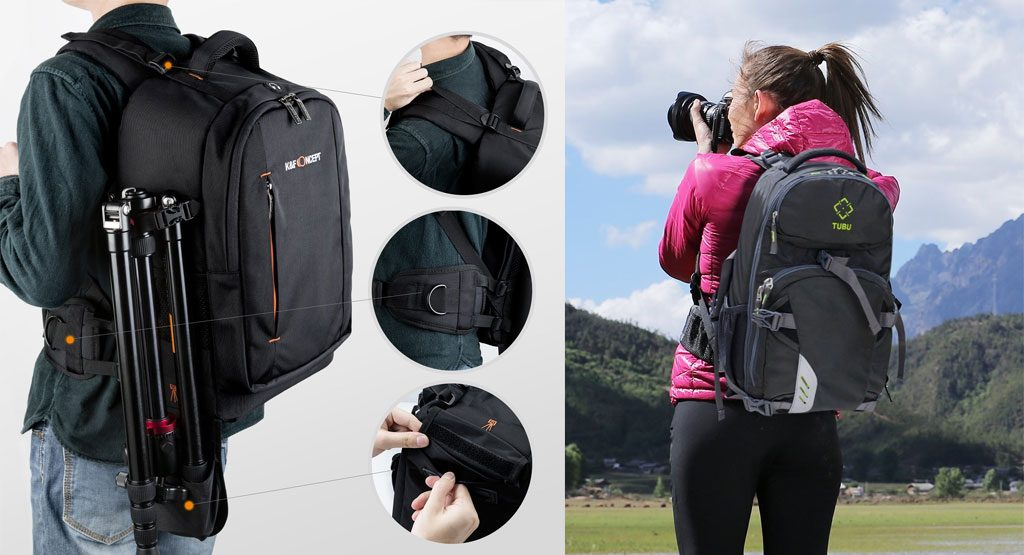 mochila de fotografía para caminatas largas