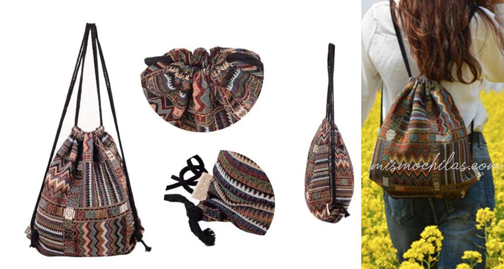 Mochila cuerdas artesanal
